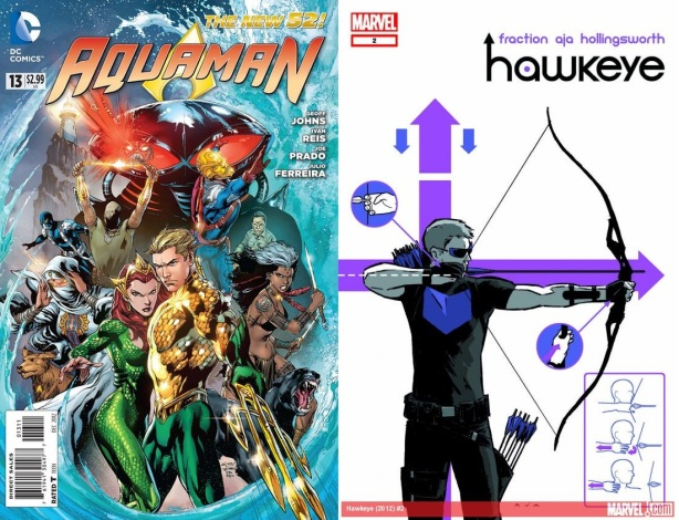Aquaman #13 cover by Ivan Reis.  Hawkeye # 2 cover by David Aja.