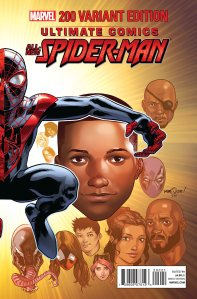 "Cover to ""Ultimate Spider-Man 200"" from Marvel. Cover art by Mark Bagley, Drew Gennessy, Justin Ponsor, and David Marquez."