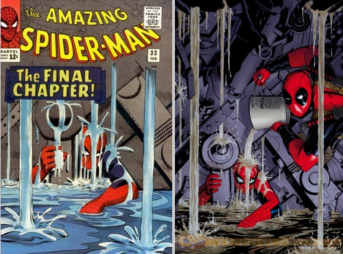 "The original ""Amazing Spider-Man"" #33 cover (L) and the ""Amazing Spider-Man"" #7 Deadpool Variant by Michael Golden."